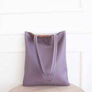 The Ava Genuine Leather Tote Bag Purple